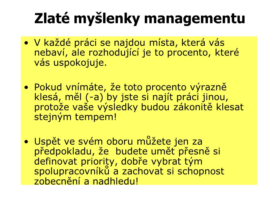 Zlaté myšlenky managementu