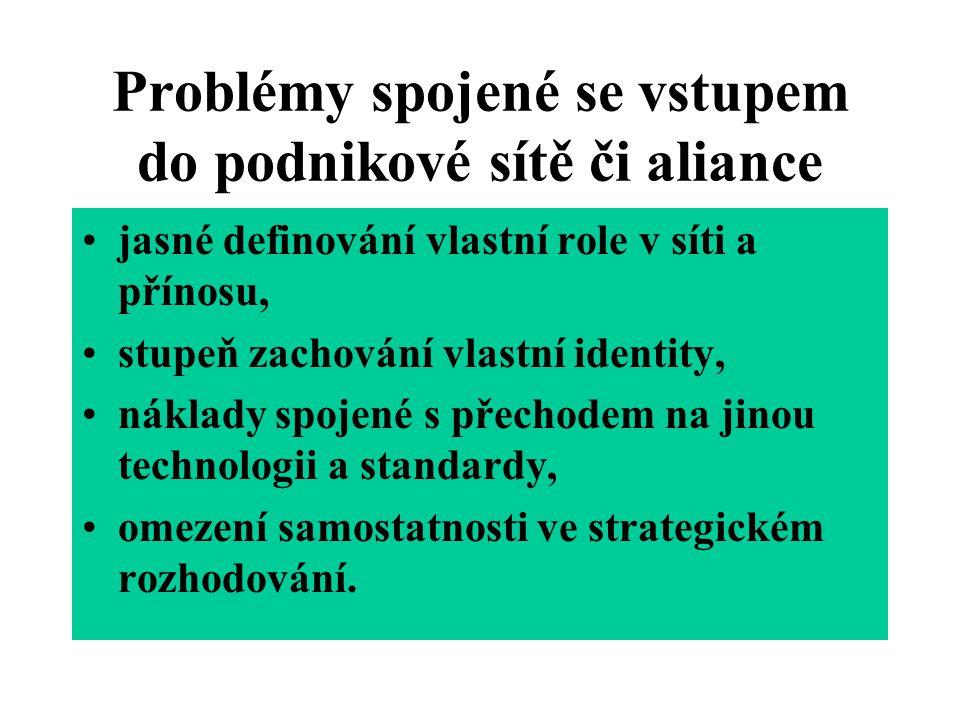 Problémy spojené se vstupem do podnikové sítě či aliance