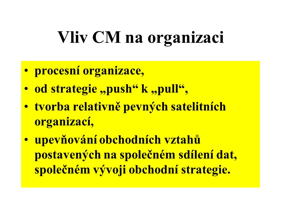 Vliv CM na organizaci procesní organizace,