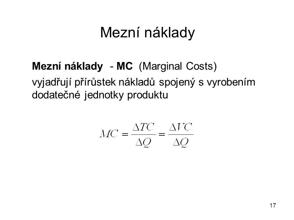 Mezní náklady Mezní náklady - MC (Marginal Costs)