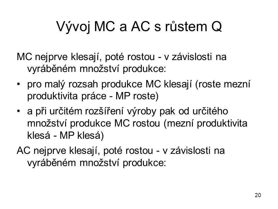 Vývoj MC a AC s růstem Q MC nejprve klesají, poté rostou - v závislosti na vyráběném množství produkce:
