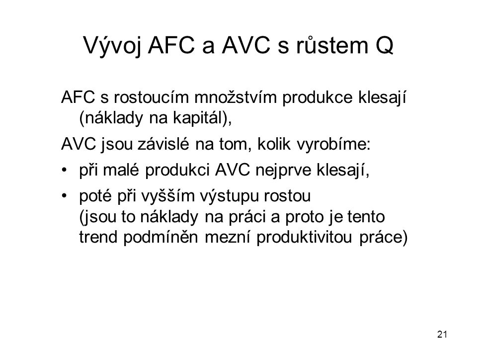 Vývoj AFC a AVC s růstem Q