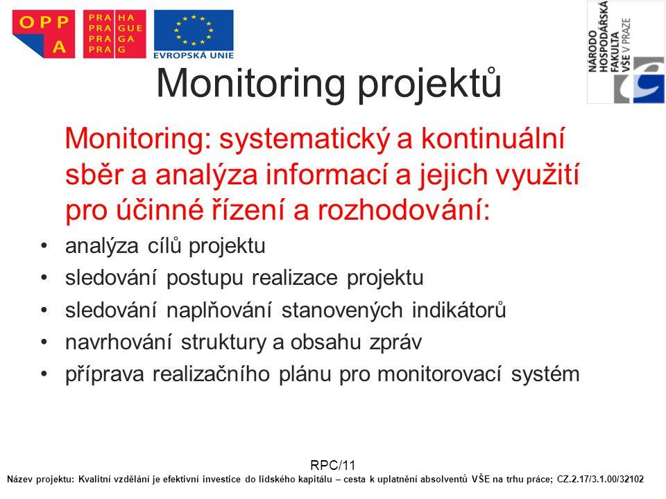 Monitoring projektů Monitoring: systematický a kontinuální sběr a analýza informací a jejich využití pro účinné řízení a rozhodování: