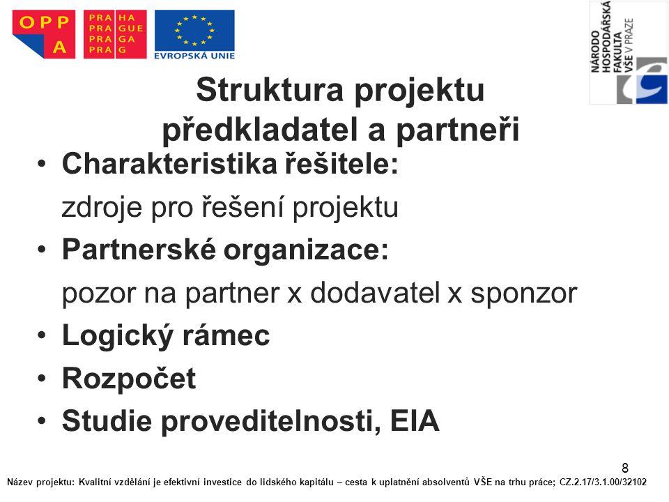 Struktura projektu předkladatel a partneři
