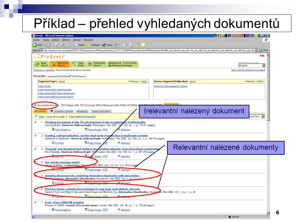 Příklad – přehled vyhledaných dokumentů