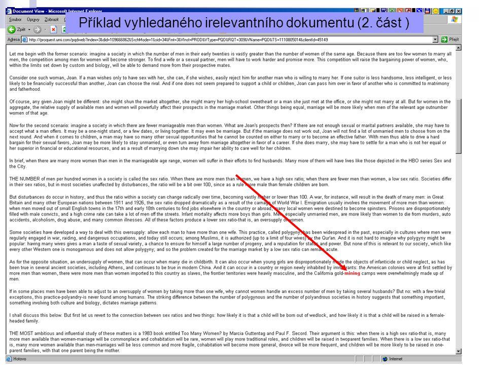 Příklad vyhledaného irelevantního dokumentu (2. část )