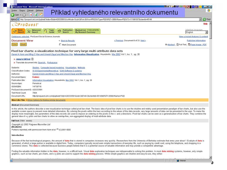 Příklad vyhledaného relevantního dokumentu