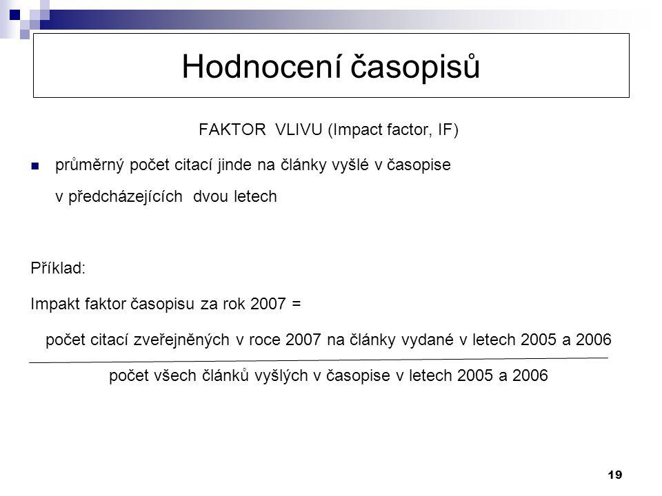Hodnocení časopisů FAKTOR VLIVU (Impact factor, IF)