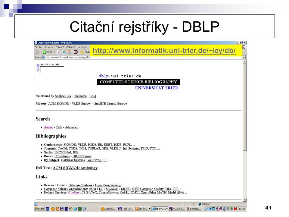 Citační rejstříky - DBLP