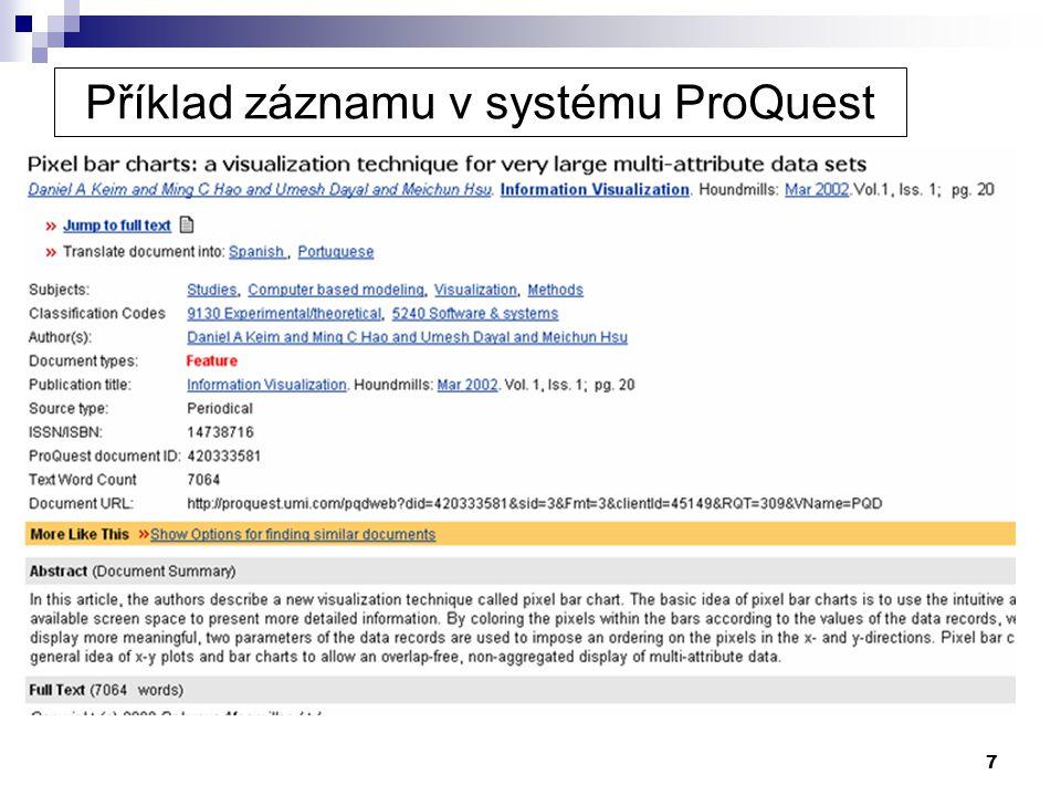 Příklad záznamu v systému ProQuest