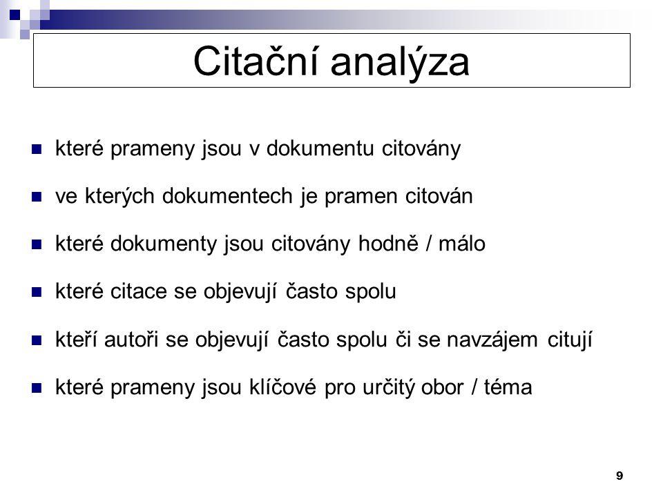 Citační analýza které prameny jsou v dokumentu citovány