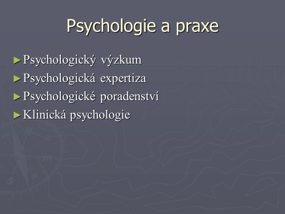 Psychologie a praxe Psychologický výzkum Psychologická expertiza