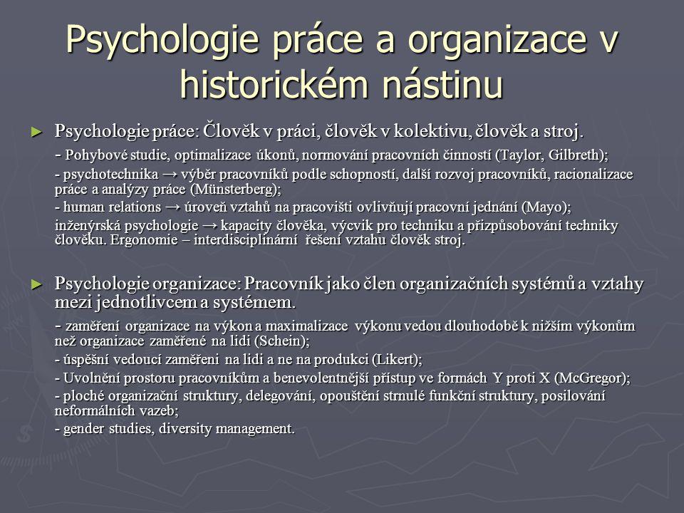 Psychologie práce a organizace v historickém nástinu