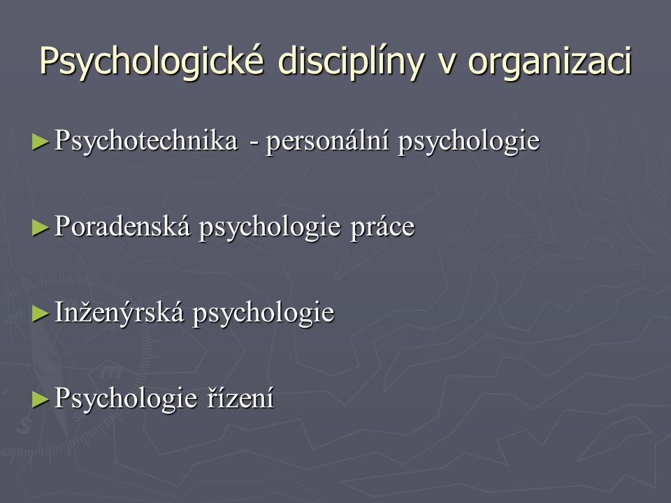 Psychologické disciplíny v organizaci