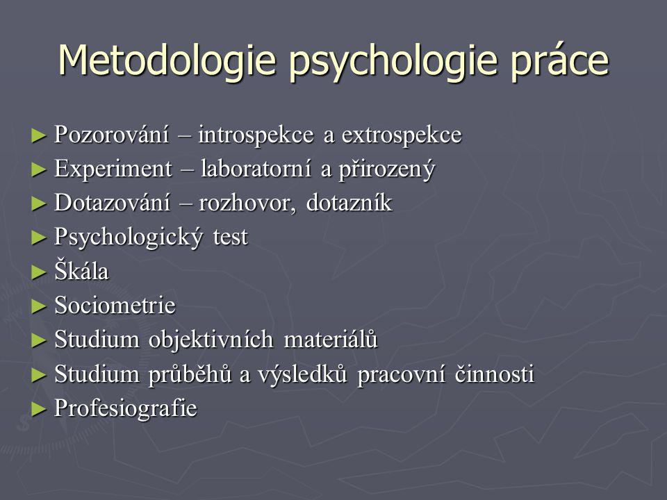 Metodologie psychologie práce