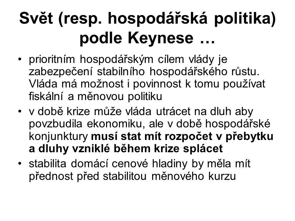 Svět (resp. hospodářská politika) podle Keynese …