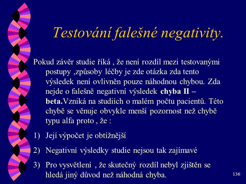 Testování falešné negativity.