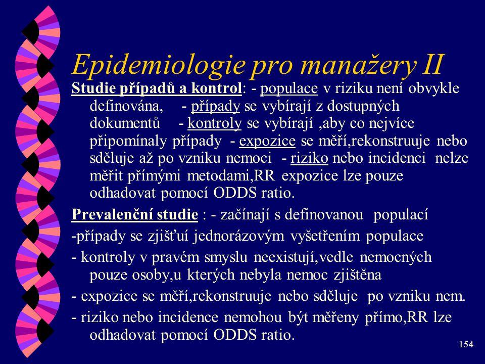 Epidemiologie pro manažery II