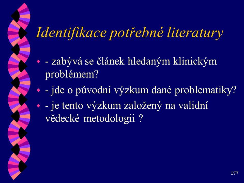 Identifikace potřebné literatury
