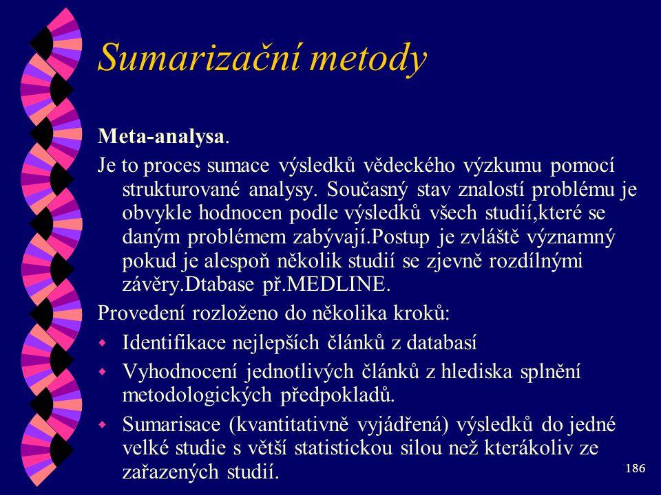 Sumarizační metody Meta-analysa.