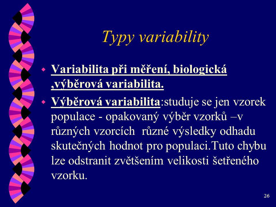 Typy variability Variabilita při měření, biologická ,výběrová variabilita.