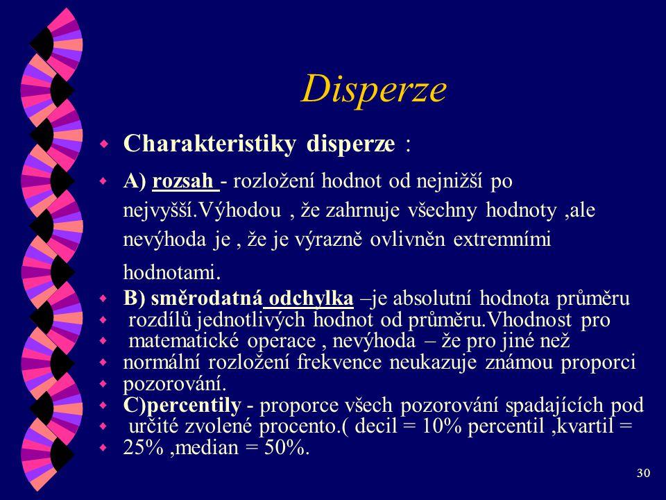 Disperze Charakteristiky disperze :