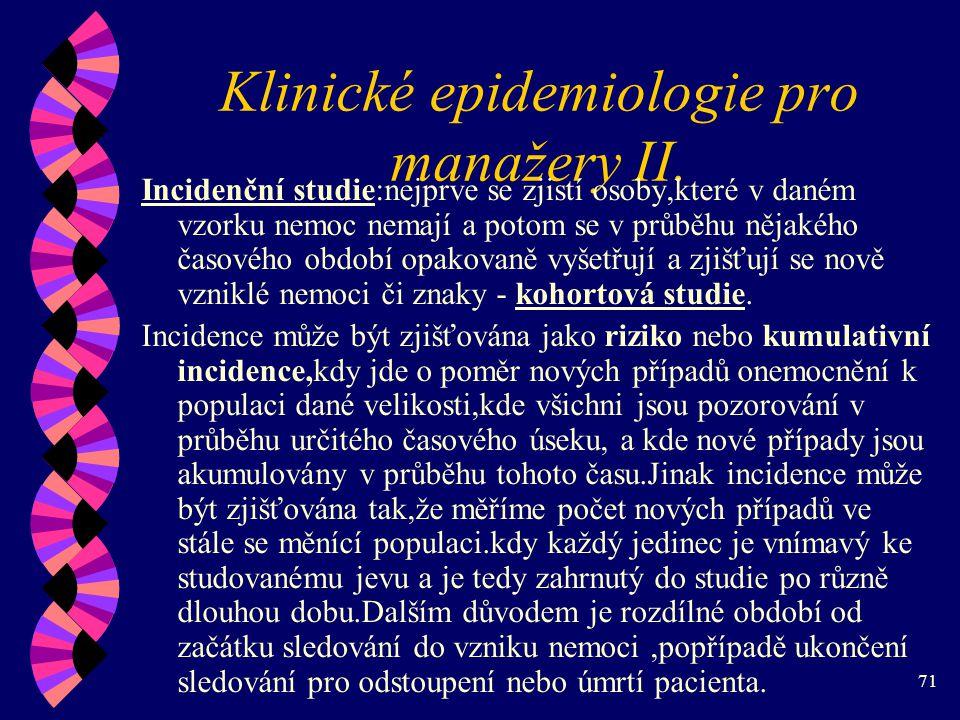 Klinické epidemiologie pro manažery II.