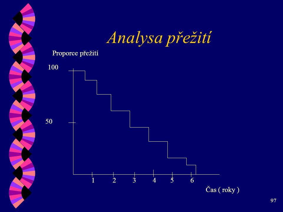Analysa přežití Proporce přežití 100 50 1 2 3 4 5 6 Čas ( roky )