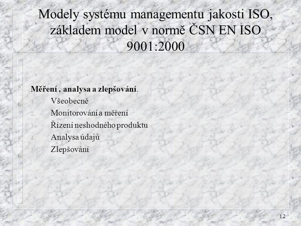 Modely systému managementu jakosti ISO, základem model v normě ČSN EN ISO 9001:2000