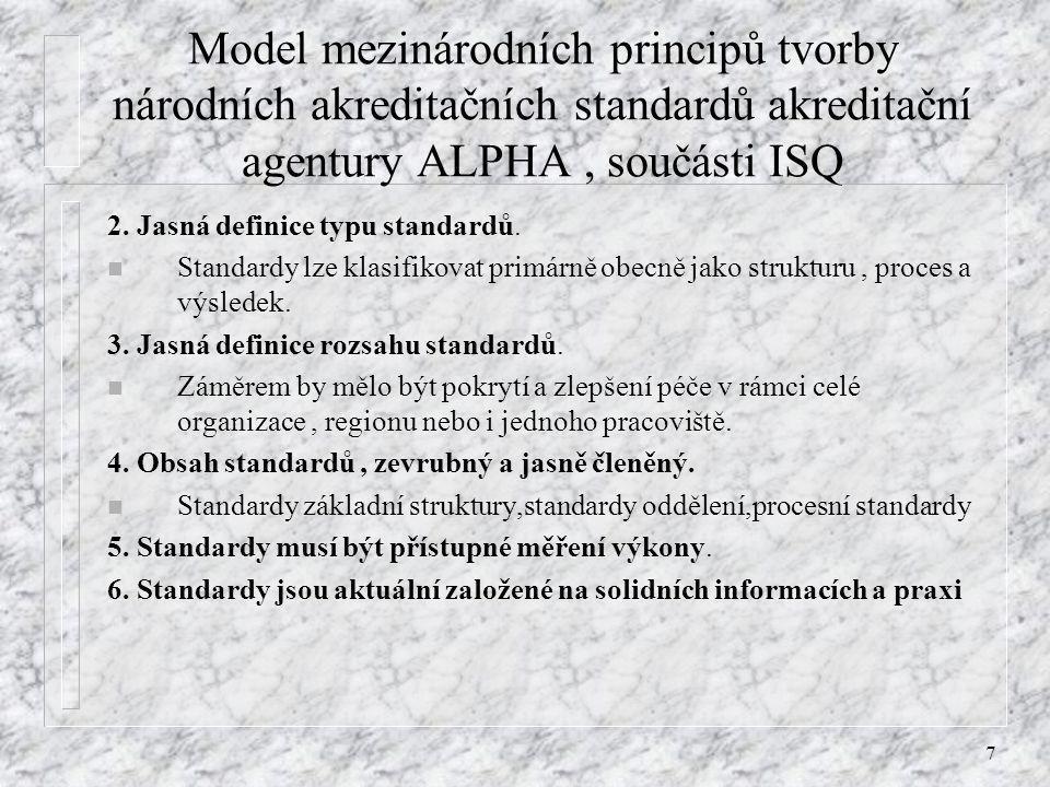 Model mezinárodních principů tvorby národních akreditačních standardů akreditační agentury ALPHA , součásti ISQ