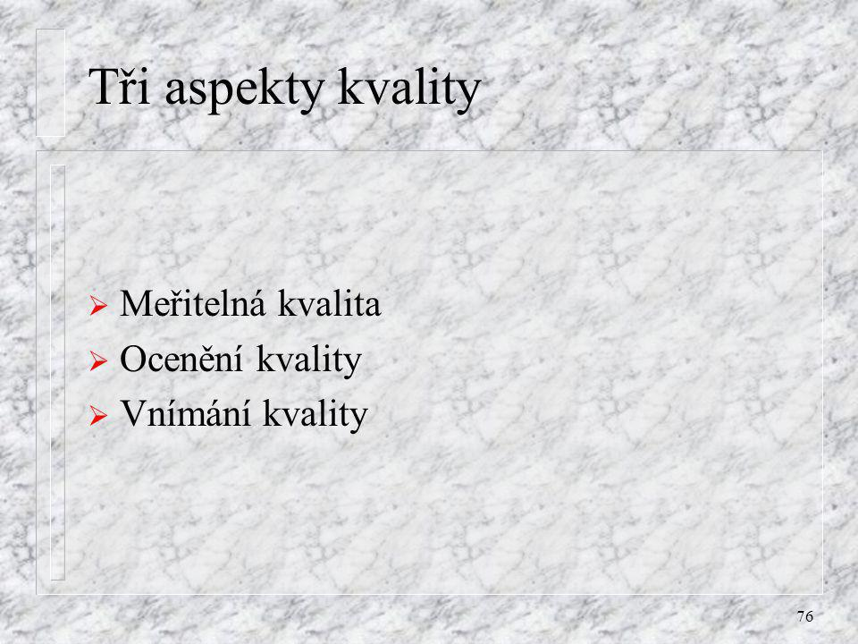 Tři aspekty kvality Meřitelná kvalita Ocenění kvality Vnímání kvality