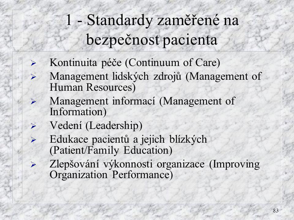 1 - Standardy zaměřené na bezpečnost pacienta