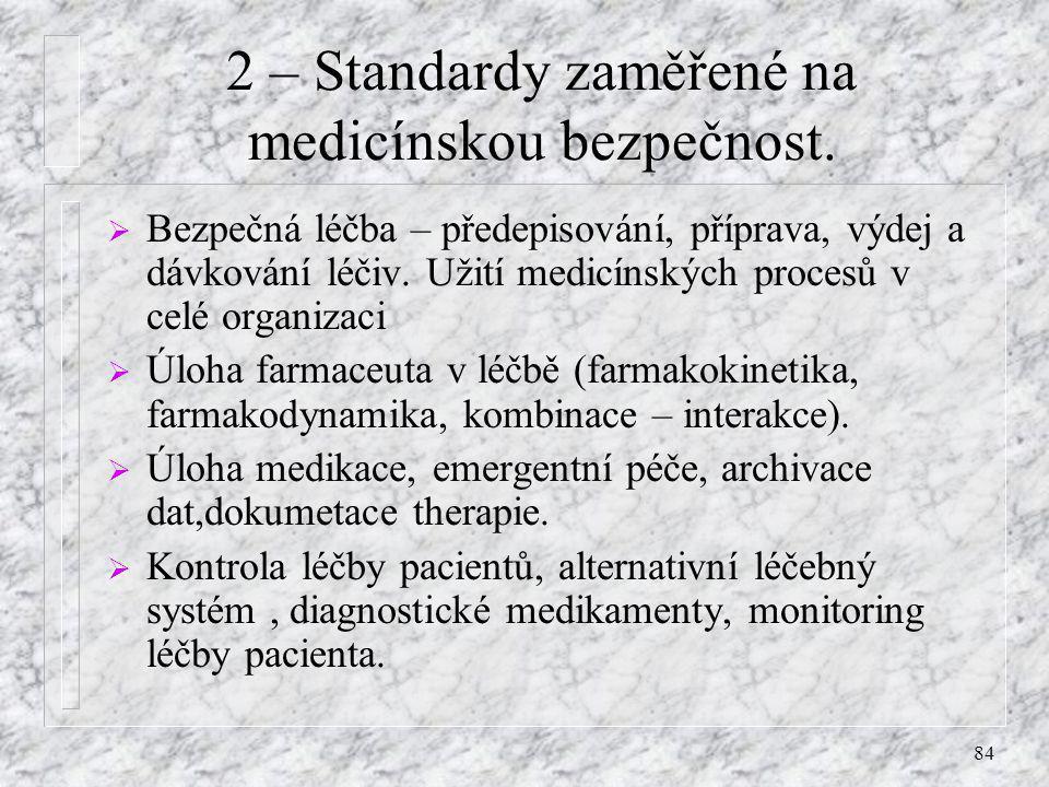 2 – Standardy zaměřené na medicínskou bezpečnost.