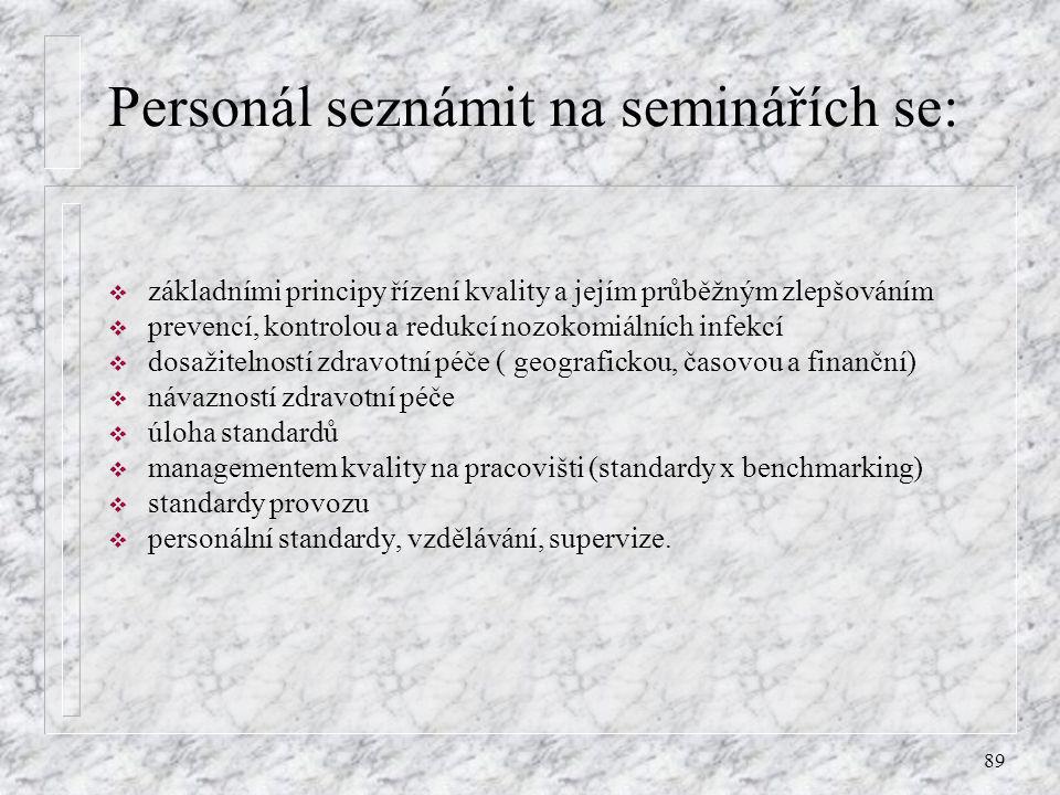 Personál seznámit na seminářích se: