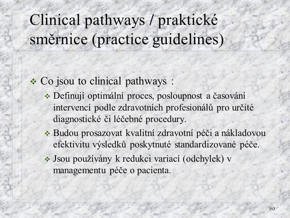 Clinical pathways / praktické směrnice (practice guidelines)