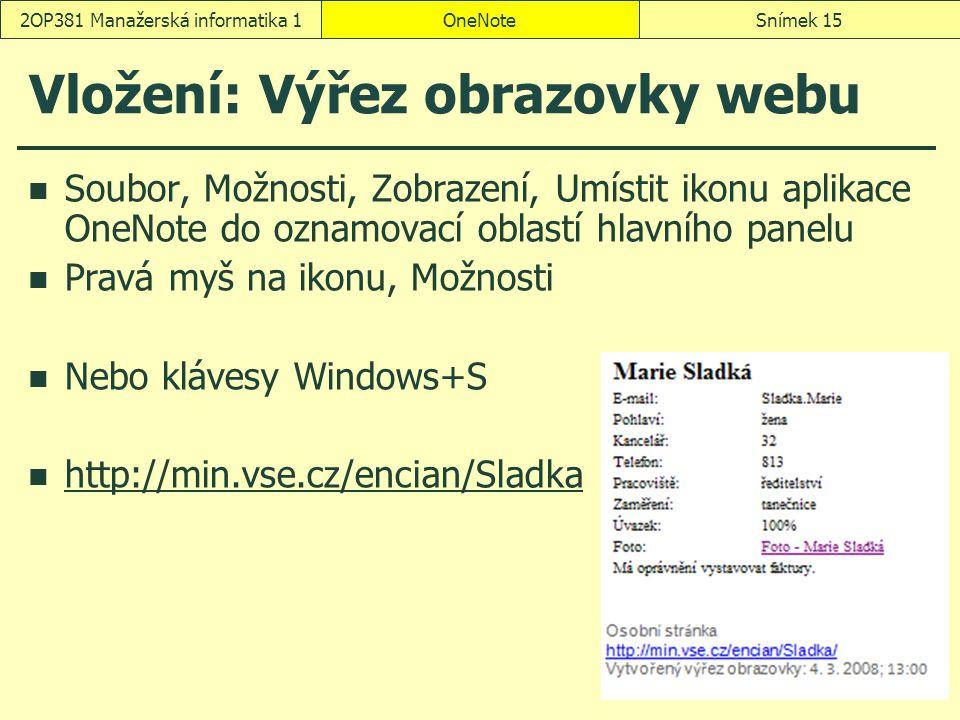 Vložení: Výřez obrazovky webu