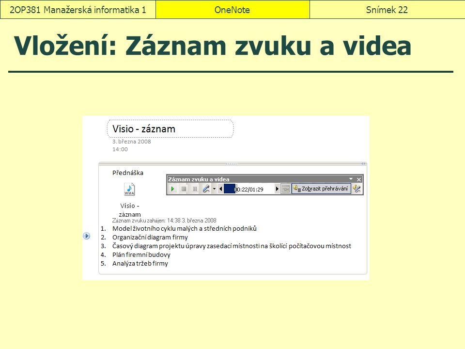 Vložení: Záznam zvuku a videa