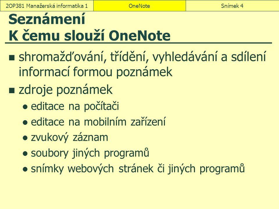 Seznámení K čemu slouží OneNote