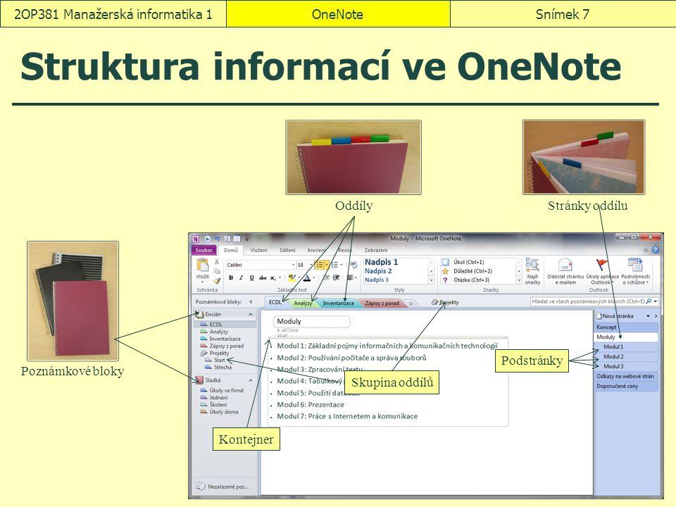 Struktura informací ve OneNote