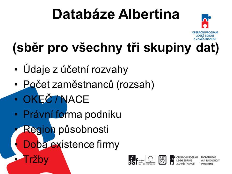 Databáze Albertina (sběr pro všechny tři skupiny dat)