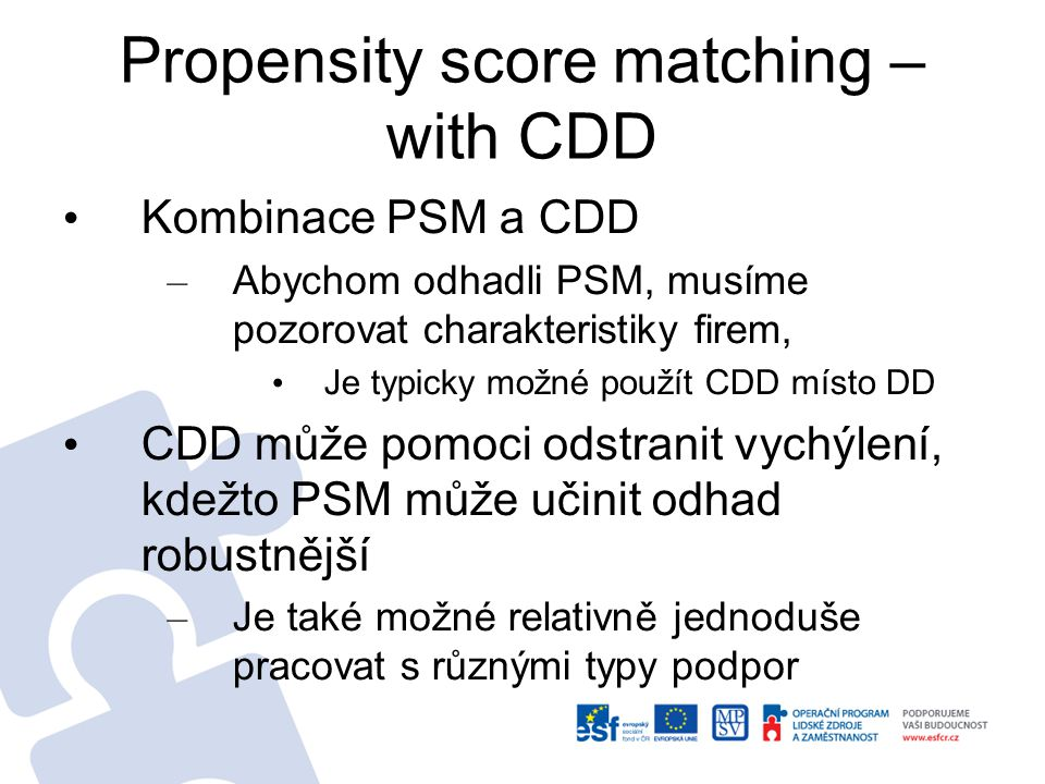 Propensity score matching – with CDD