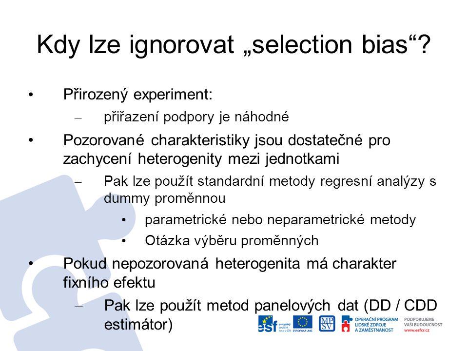 """Kdy lze ignorovat """"selection bias"""