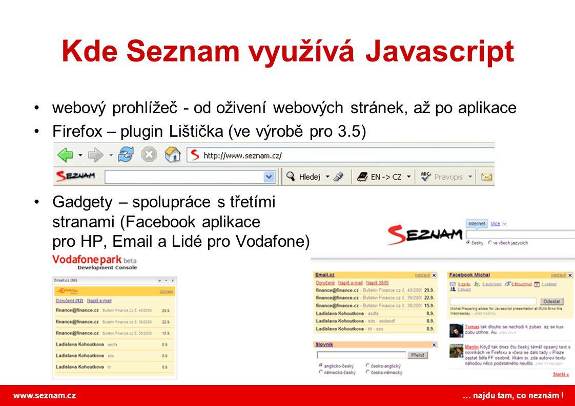 Kde Seznam využívá Javascript