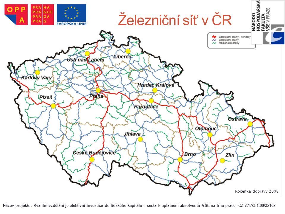 Železniční síť v ČR Ročenka dopravy 2008