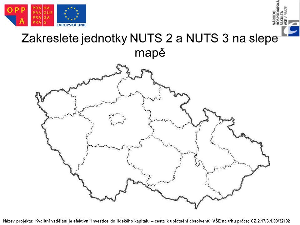 Zakreslete jednotky NUTS 2 a NUTS 3 na slepé mapě