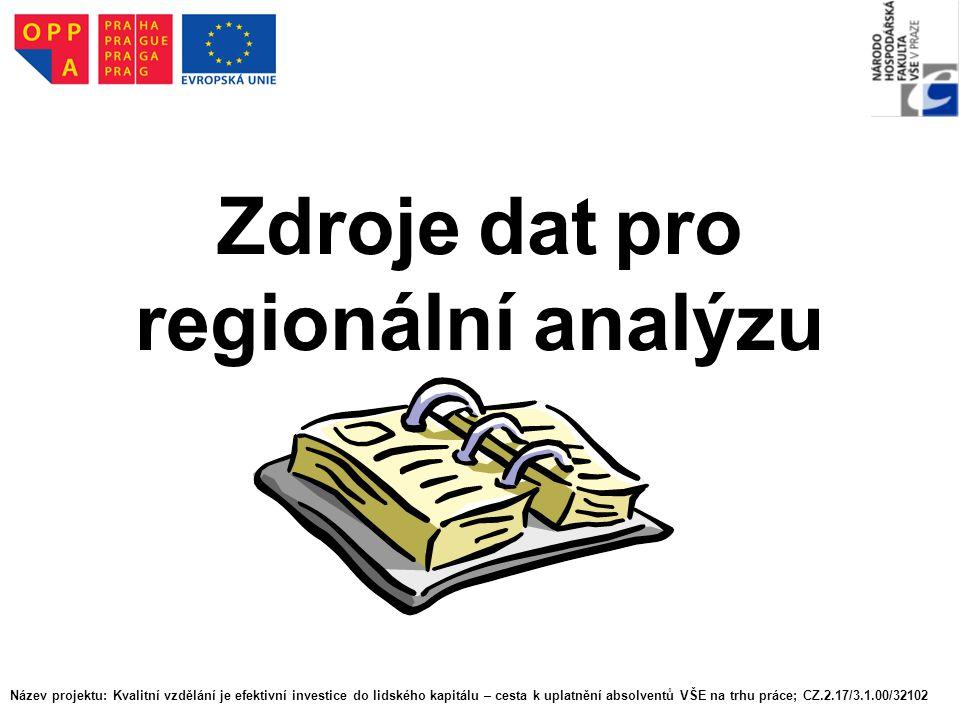 Zdroje dat pro regionální analýzu