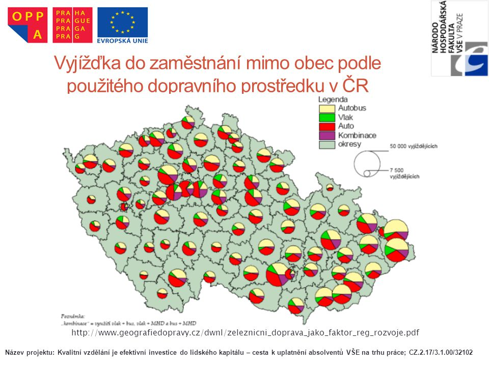 Vyjížďka do zaměstnání mimo obec podle použitého dopravního prostředku v ČR