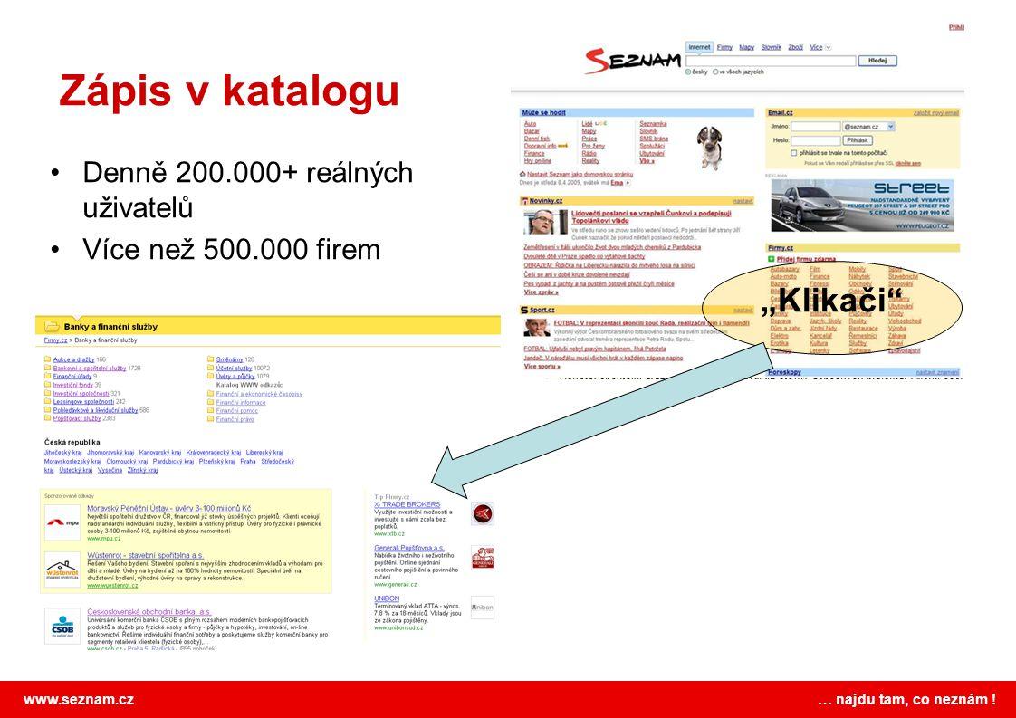 """Zápis v katalogu """"Klikači Denně 200.000+ reálných uživatelů"""