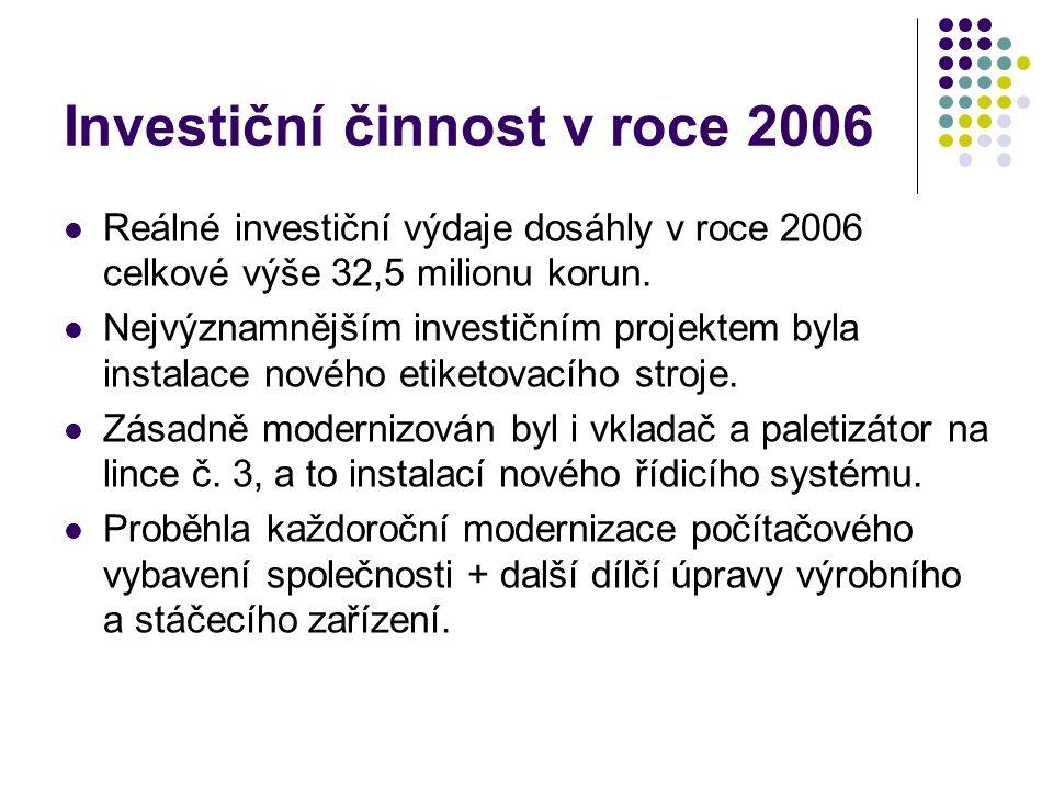 Investiční činnost v roce 2006