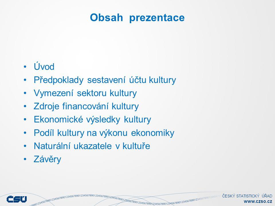 Obsah prezentace Úvod Předpoklady sestavení účtu kultury